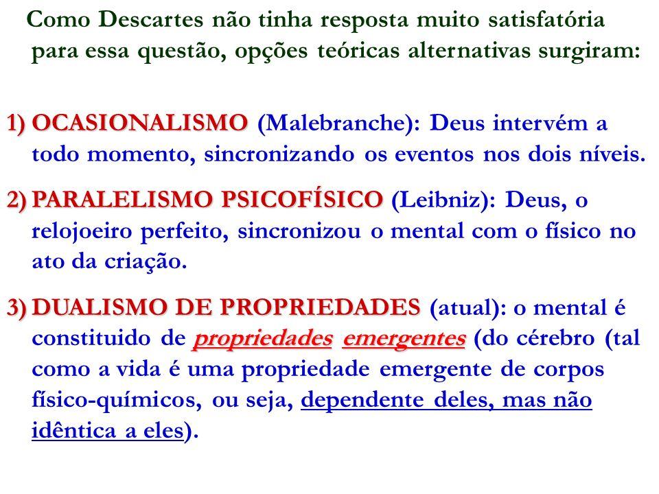 Como Descartes não tinha resposta muito satisfatória para essa questão, opções teóricas alternativas surgiram: 1)OCASIONALISMO 1)OCASIONALISMO (Malebr