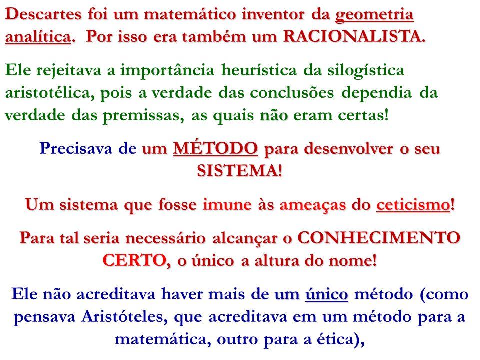 Descartes foi um matemático inventor da geometria analítica. Por isso era também um RACIONALISTA. não Ele rejeitava a importância heurística da silogí