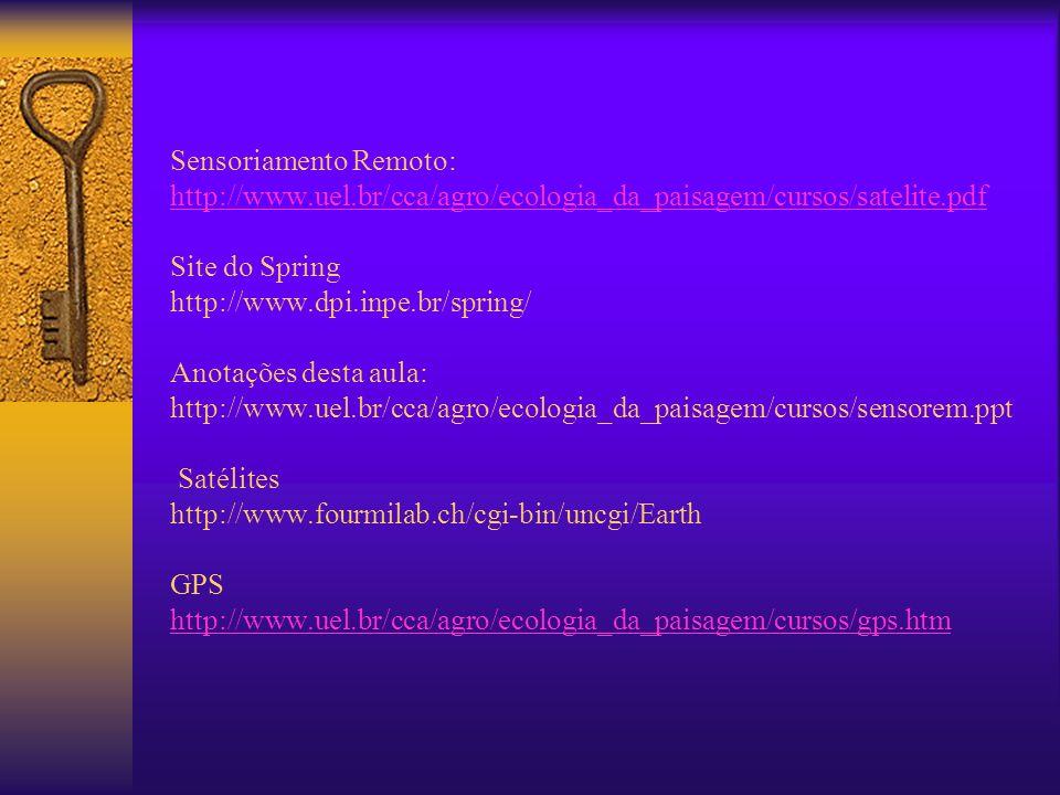 Sensoriamento Remoto: http://www.uel.br/cca/agro/ecologia_da_paisagem/cursos/satelite.pdf Site do Spring http://www.dpi.inpe.br/spring/ Anotações dest