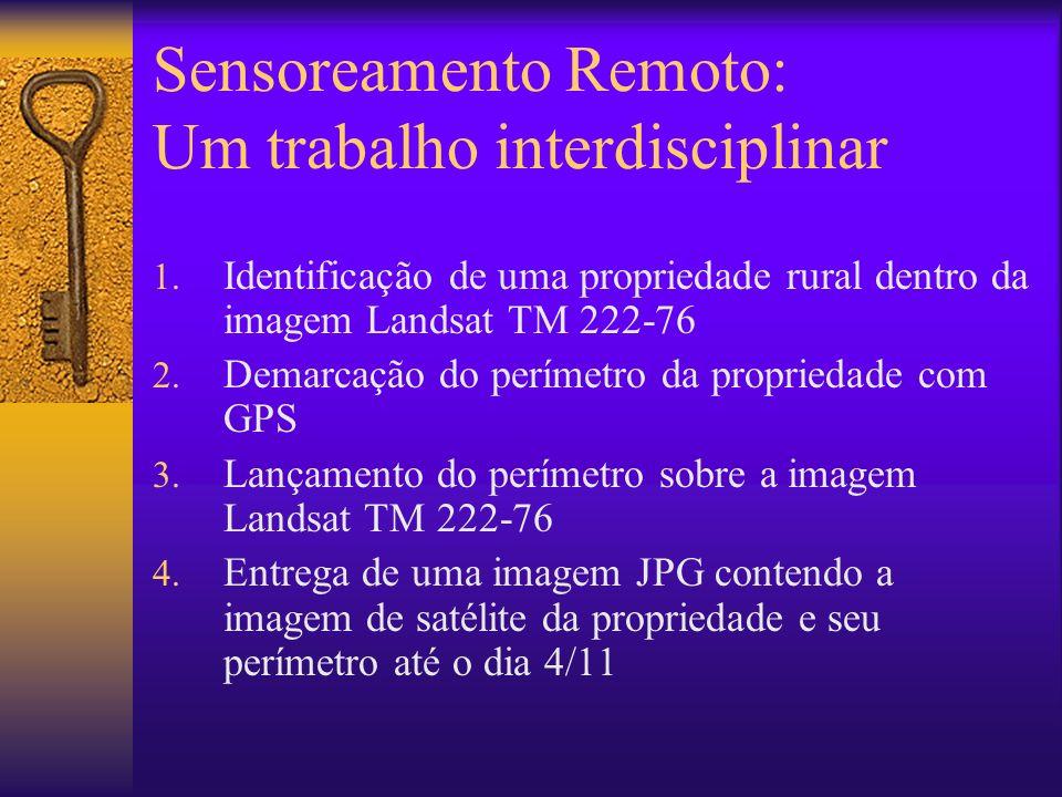 Sensoreamento Remoto: Um trabalho interdisciplinar 1. Identificação de uma propriedade rural dentro da imagem Landsat TM 222-76 2. Demarcação do perím