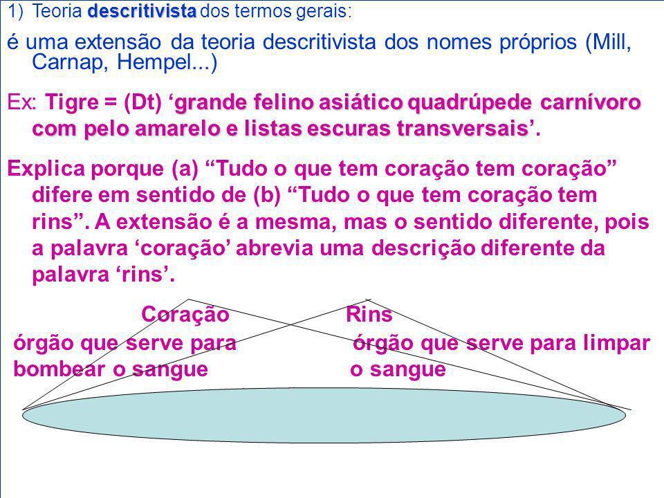 descritivista 1)Teoria descritivista dos termos gerais: é uma extensão da teoria descritivista dos nomes próprios (Mill, Carnap, Hempel...) grande fel