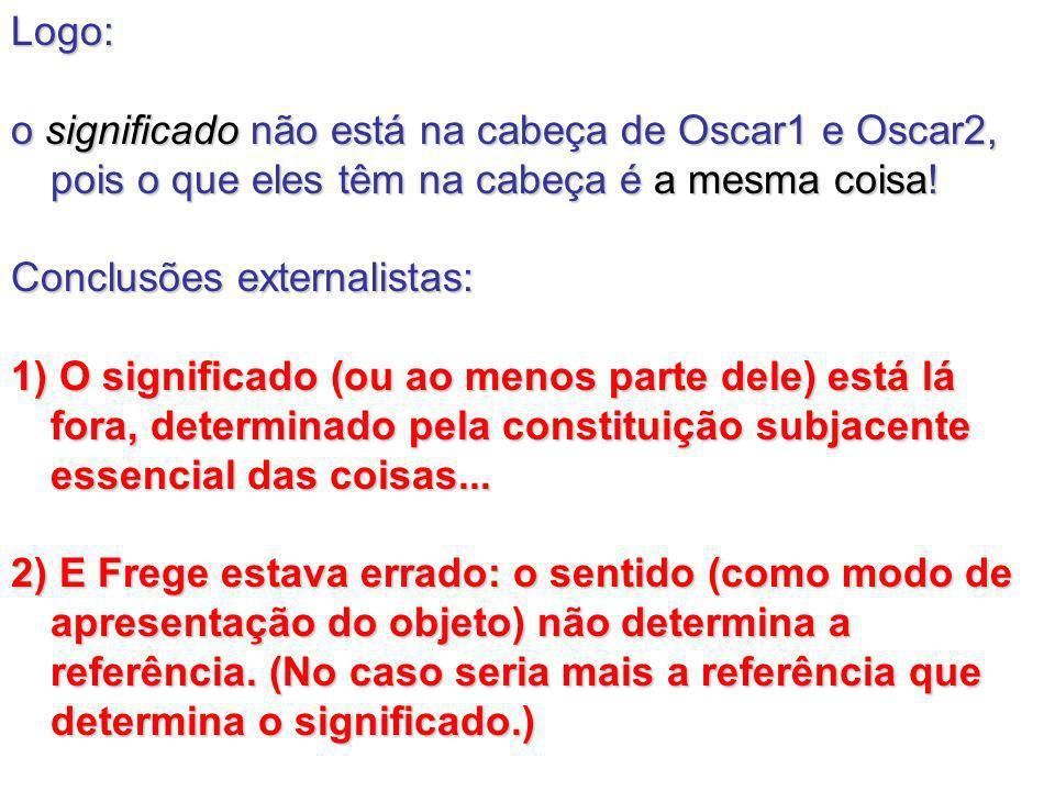 Logo: o significado não está na cabeça de Oscar1 e Oscar2, pois o que eles têm na cabeça é a mesma coisa! Conclusões externalistas: 1) O significado (