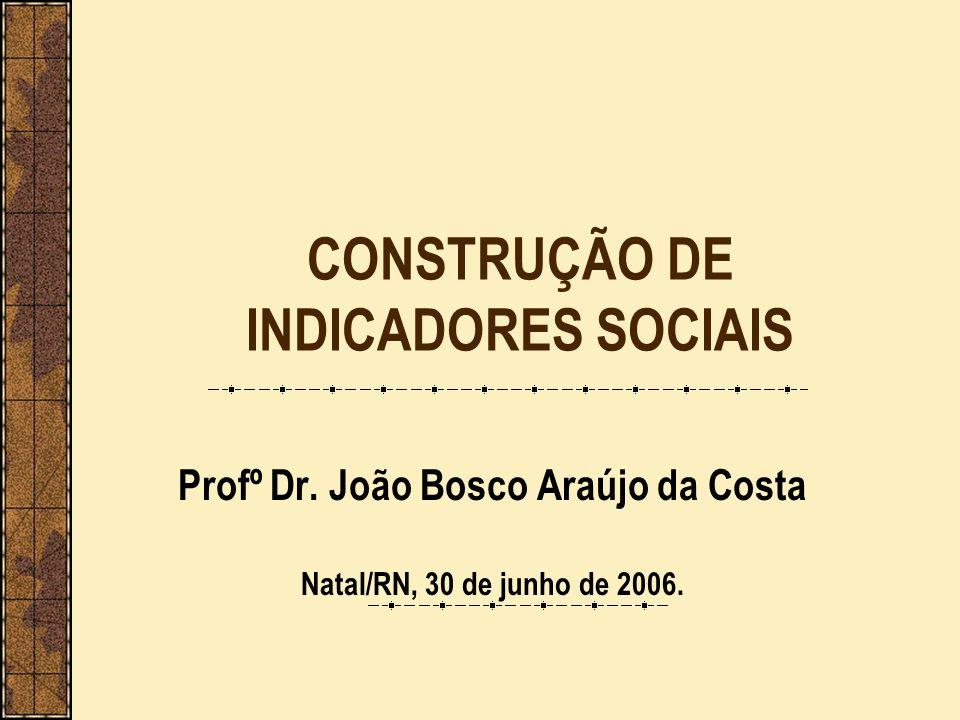 CONSTRUÇÃO DE INDICADORES SOCIAIS Profº Dr. João Bosco Araújo da Costa Natal/RN, 30 de junho de 2006.