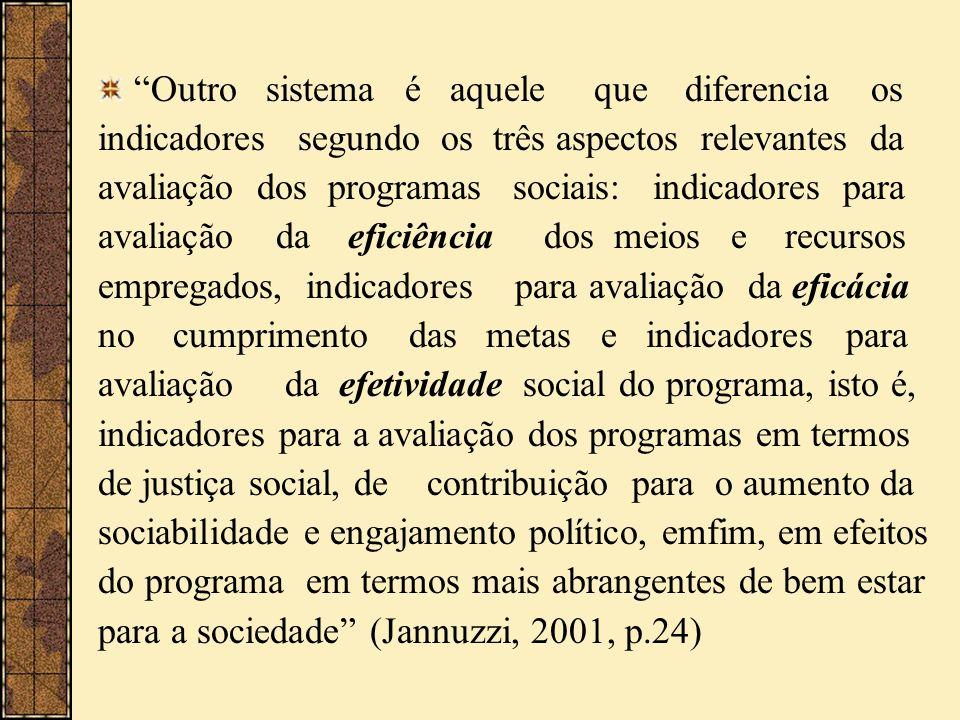 Outro sistema é aquele que diferencia os indicadores segundo os três aspectos relevantes da avaliação dos programas sociais: indicadores para avaliaçã