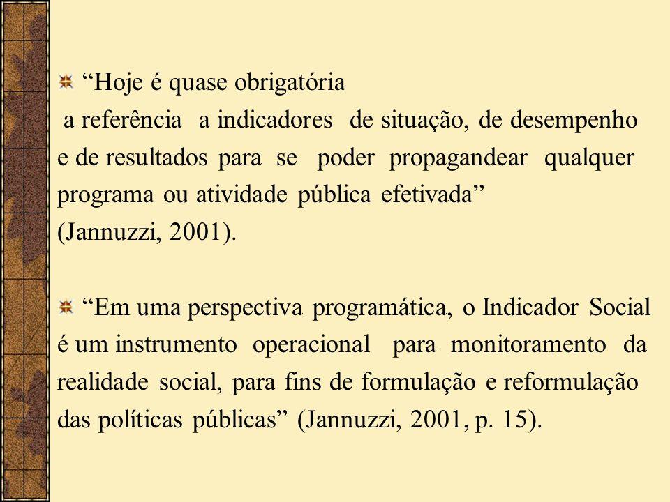 Hoje é quase obrigatória a referência a indicadores de situação, de desempenho e de resultados para se poder propagandear qualquer programa ou ativida