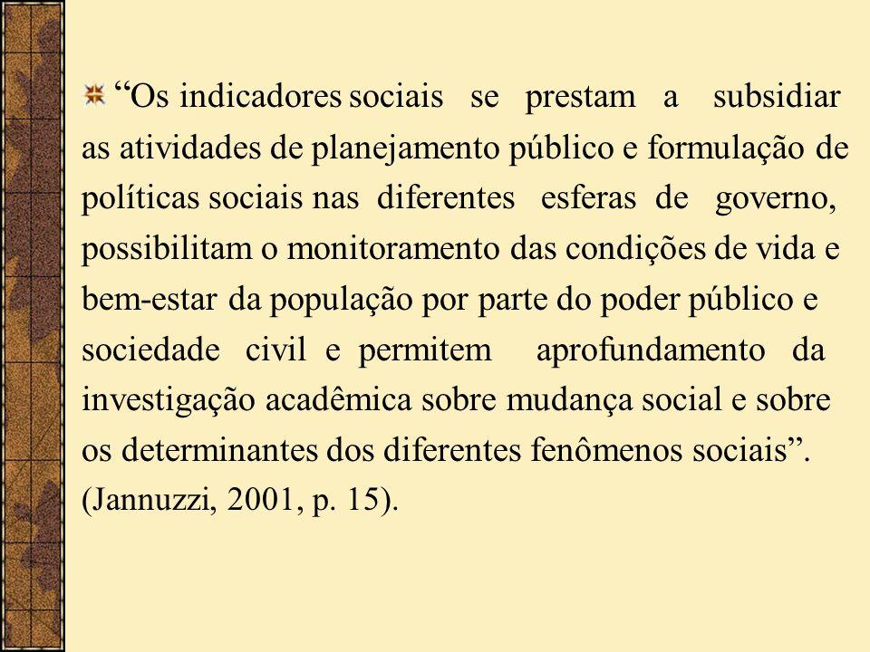 Os indicadores sociais se prestam a subsidiar as atividades de planejamento público e formulação de políticas sociais nas diferentes esferas de govern