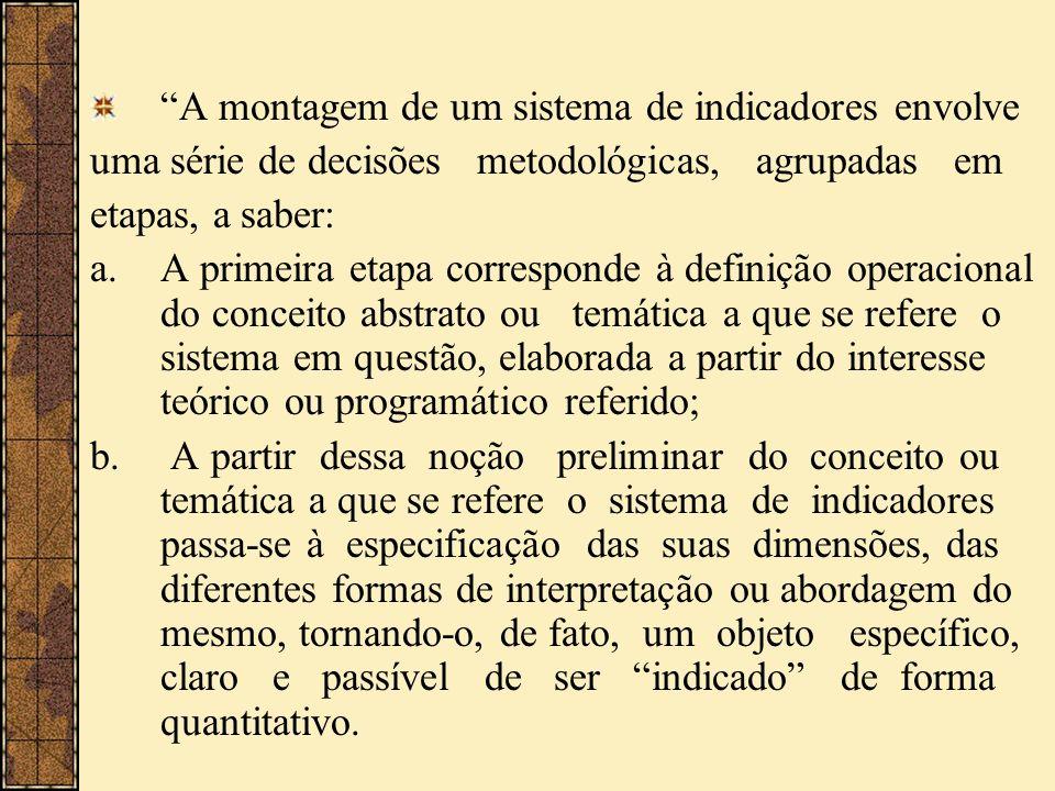 A montagem de um sistema de indicadores envolve uma série de decisões metodológicas, agrupadas em etapas, a saber: a.A primeira etapa corresponde à de