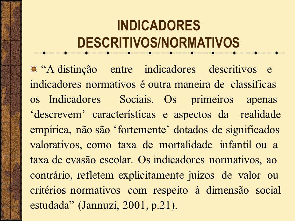 A distinção entre indicadores descritivos e indicadores normativos é outra maneira de classificas os Indicadores Sociais. Os primeiros apenas descreve