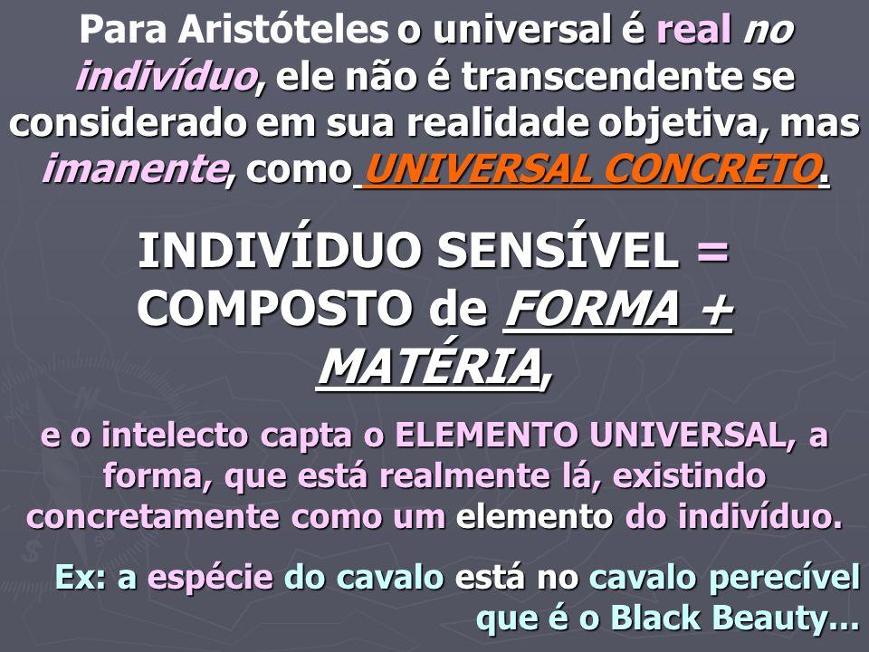 o universal é real no indivíduo, ele não é transcendente se considerado em sua realidade objetiva, mas imanente, como UNIVERSAL CONCRETO. Para Aristót