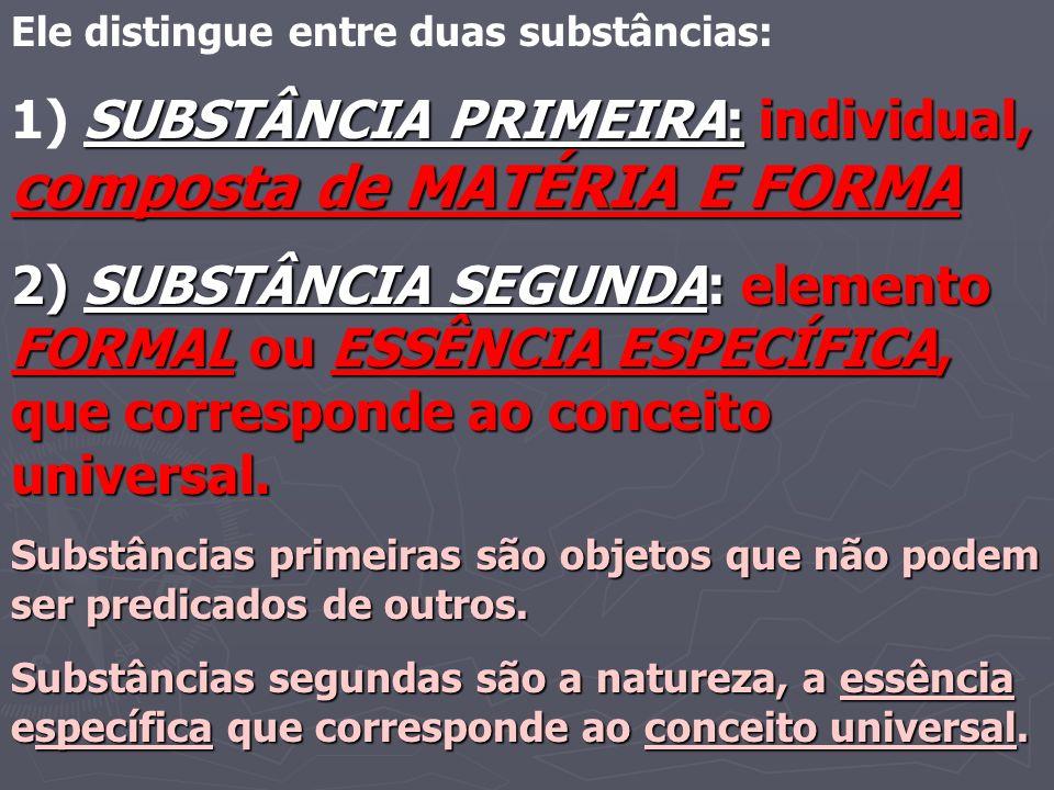 Ele distingue entre duas substâncias: SUBSTÂNCIA PRIMEIRA: individual, composta de MATÉRIA E FORMA 1) SUBSTÂNCIA PRIMEIRA: individual, composta de MAT