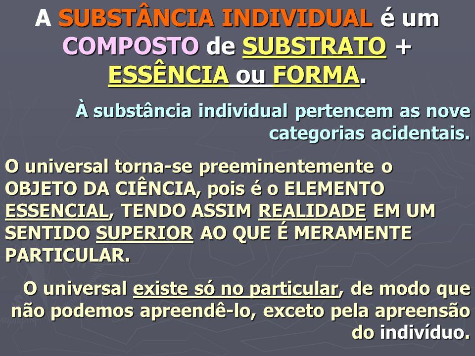 SUBSTÂNCIA INDIVIDUAL é um COMPOSTO de SUBSTRATO + ESSÊNCIA ou FORMA. A SUBSTÂNCIA INDIVIDUAL é um COMPOSTO de SUBSTRATO + ESSÊNCIA ou FORMA. À substâ