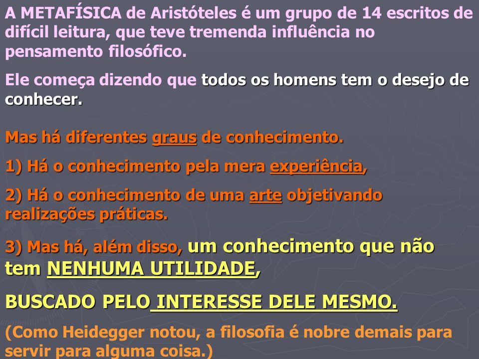 A METAFÍSICA de Aristóteles é um grupo de 14 escritos de difícil leitura, que teve tremenda influência no pensamento filosófico. todos os homens tem o