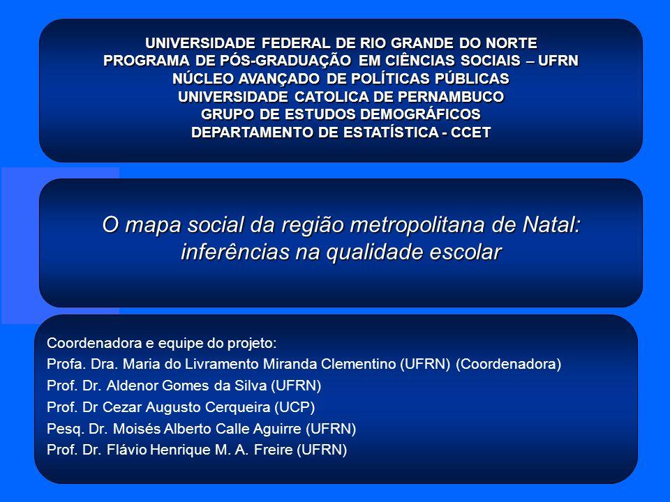 O mapa social da região metropolitana de Natal: inferências na qualidade escolar Coordenadora e equipe do projeto: Profa. Dra. Maria do Livramento Mir