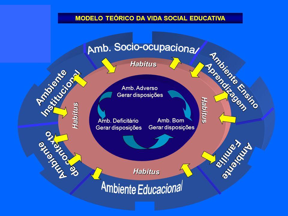 Ambiente de contexto AmbienteInstitucional AmbienteFamília Ambiente Ensino Aprendizagem Habitus Habitus Habitus Habitus Amb. Adverso Gerar disposições