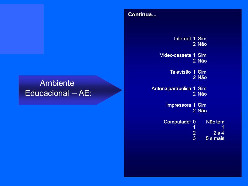Internet 1 Sim 2 Não Video-cassete 1 Sim 2 Não Televisão 1 Sim 2 Não Antena parabólica 1 Sim 2 Não Impressora 1 Sim 2 Não Computador 0 Não tem 1 1 2 2a 4 3 5 e mais Ambiente Educacional – AE: Continua...