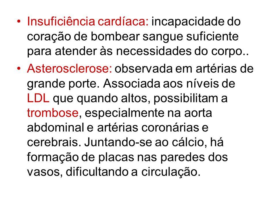 Insuficiência cardíaca: incapacidade do coração de bombear sangue suficiente para atender às necessidades do corpo.. Asterosclerose: observada em arté