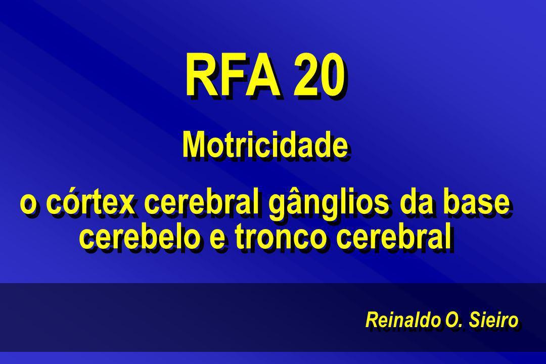 Reinaldo O. Sieiro RFA 20 Motricidade o córtex cerebral gânglios da base cerebelo e tronco cerebral RFA 20 Motricidade o córtex cerebral gânglios da b