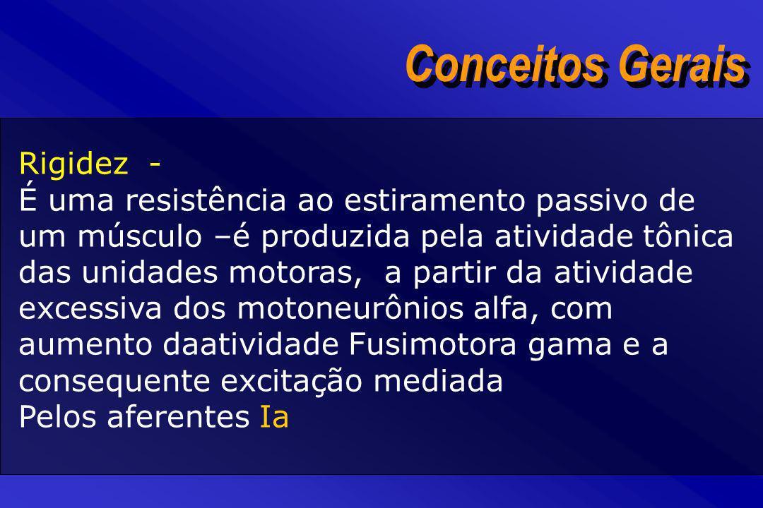 Conceitos Gerais Rigidez - É uma resistência ao estiramento passivo de um músculo –é produzida pela atividade tônica das unidades motoras, a partir da