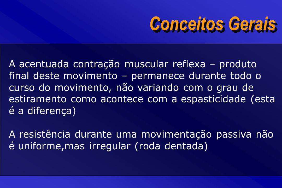 Conceitos Gerais A acentuada contração muscular reflexa – produto final deste movimento – permanece durante todo o curso do movimento, não variando co