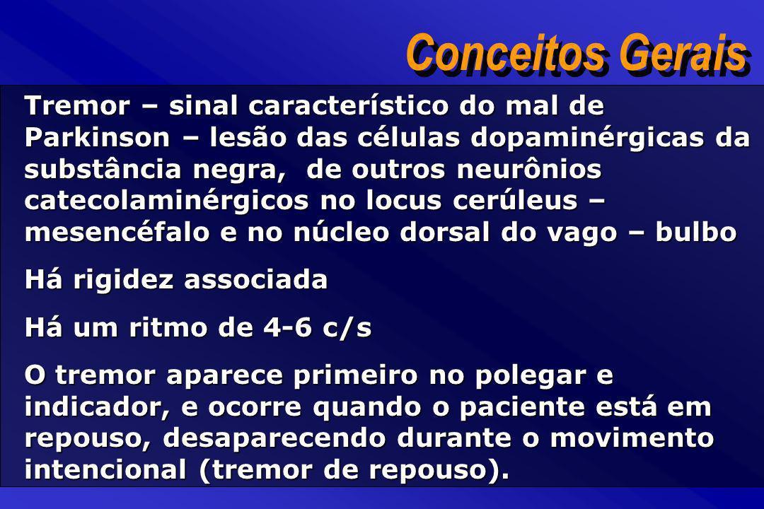 Tremor – sinal característico do mal de Parkinson – lesão das células dopaminérgicas da substância negra, de outros neurônios catecolaminérgicos no lo