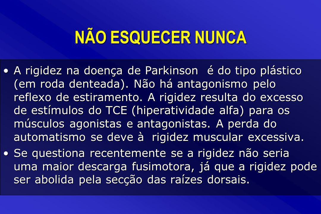 A rigidez na doença de Parkinson é do tipo plástico (em roda denteada). Não há antagonismo pelo reflexo de estiramento. A rigidez resulta do excesso d