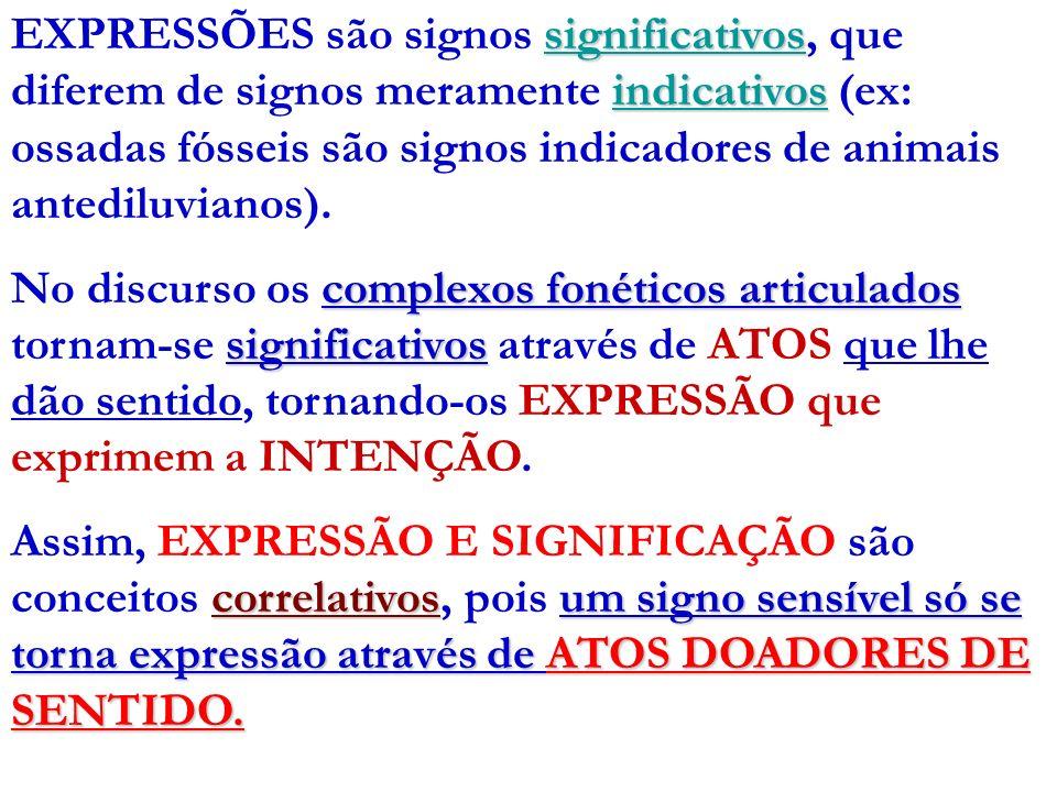 significativos indicativos EXPRESSÕES são signos significativos, que diferem de signos meramente indicativos (ex: ossadas fósseis são signos indicador