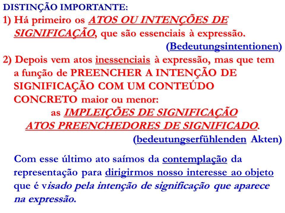 DISTINÇÃO IMPORTANTE: 1) Há primeiro os ATOS OU INTENÇÕES DE SIGNIFICAÇÃO, que são essenciais à expressão. (Bedeutungsintentionen) 2) Depois vem atos