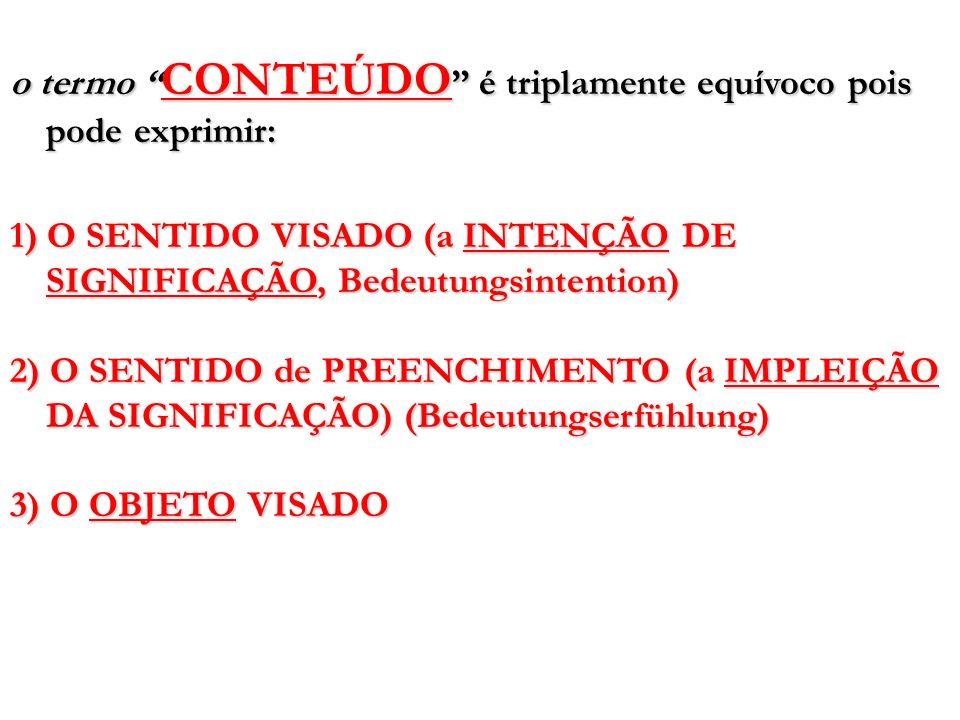 o termo CONTEÚDO é triplamente equívoco pois pode exprimir: 1) O SENTIDO VISADO (a INTENÇÃO DE SIGNIFICAÇÃO, Bedeutungsintention) 2) O SENTIDO de PREE