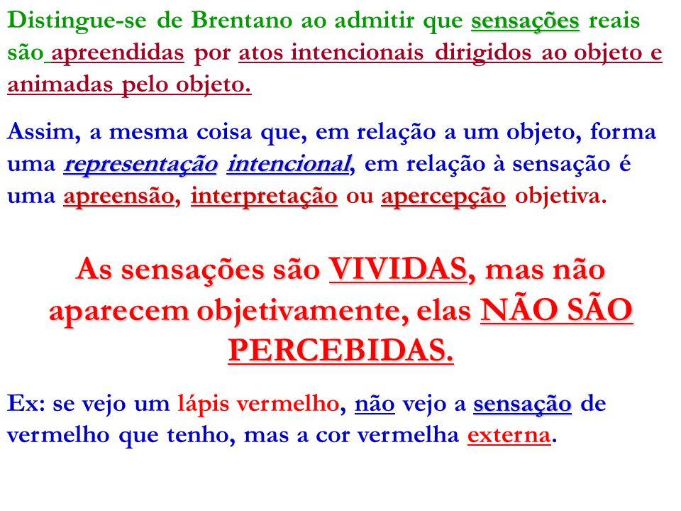 sensações Distingue-se de Brentano ao admitir que sensações reais são apreendidas por atos intencionais dirigidos ao objeto e animadas pelo objeto. re