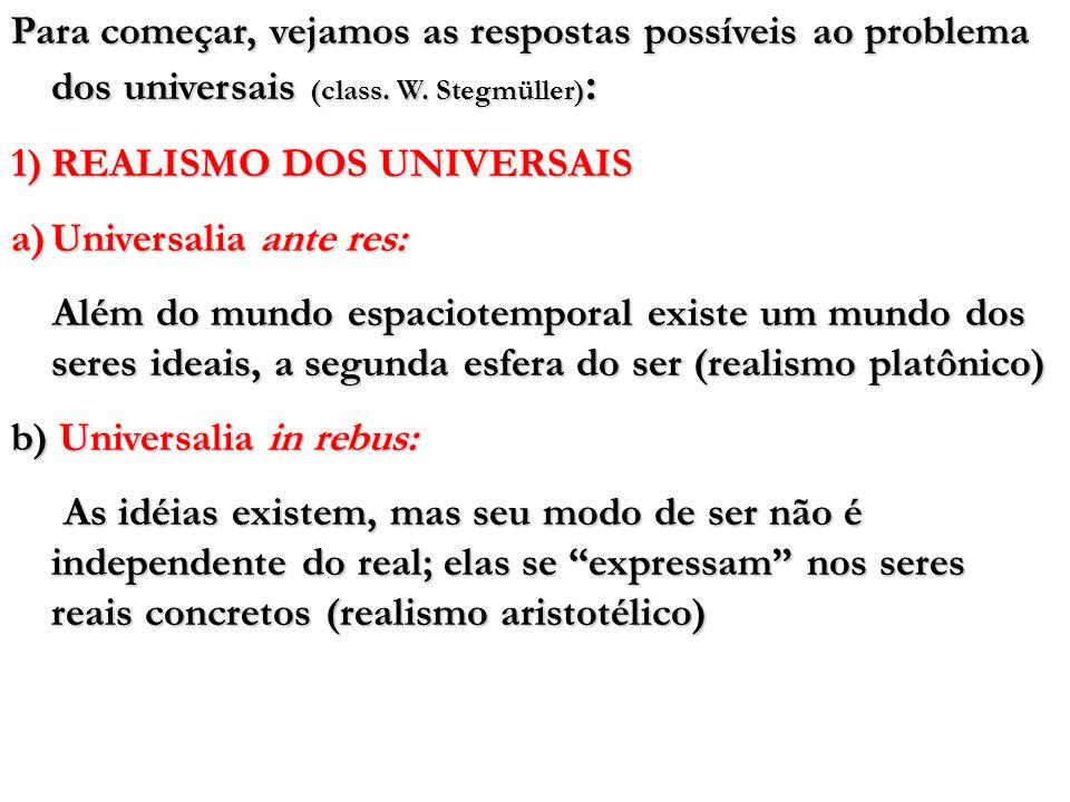 Para começar, vejamos as respostas possíveis ao problema dos universais (class. W. Stegmüller) : 1)REALISMO DOS UNIVERSAIS a)Universalia ante res: Alé