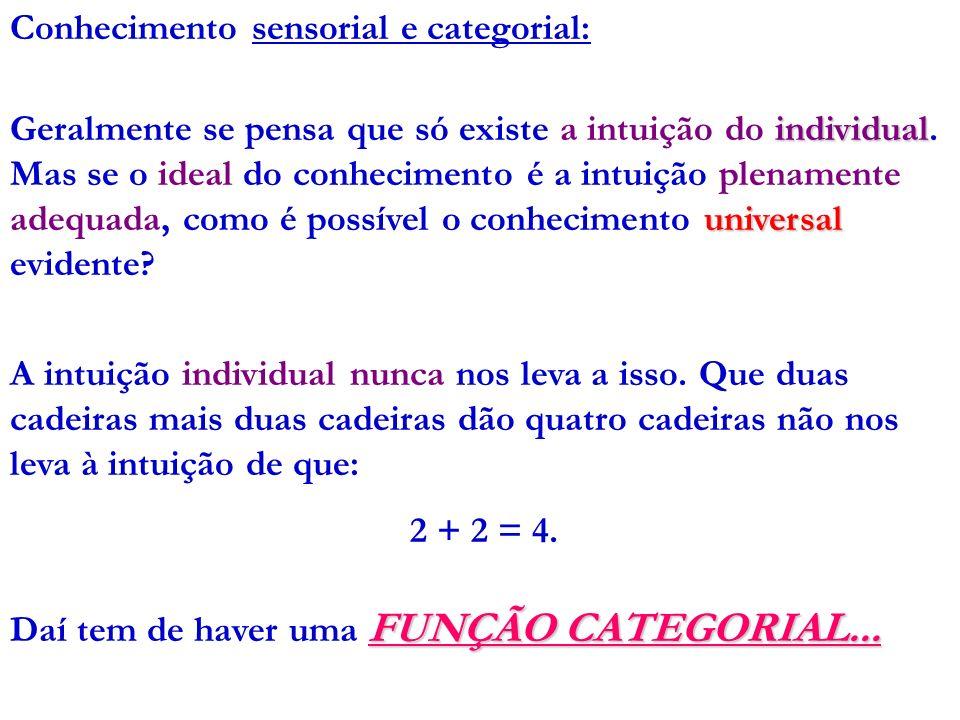 Conhecimento sensorial e categorial: individual universal Geralmente se pensa que só existe a intuição do individual. Mas se o ideal do conhecimento é