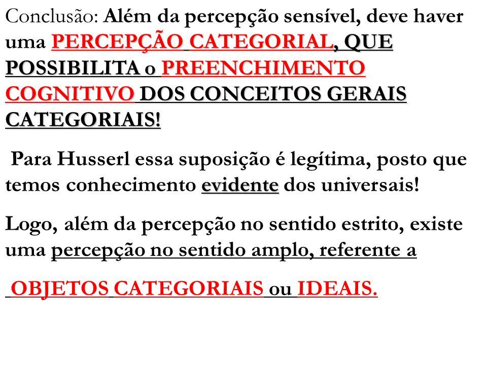 PERCEPÇÃO CATEGORIAL, QUE POSSIBILITA o PREENCHIMENTO COGNITIVO DOS CONCEITOS GERAIS CATEGORIAIS! Conclusão: Além da percepção sensível, deve haver um