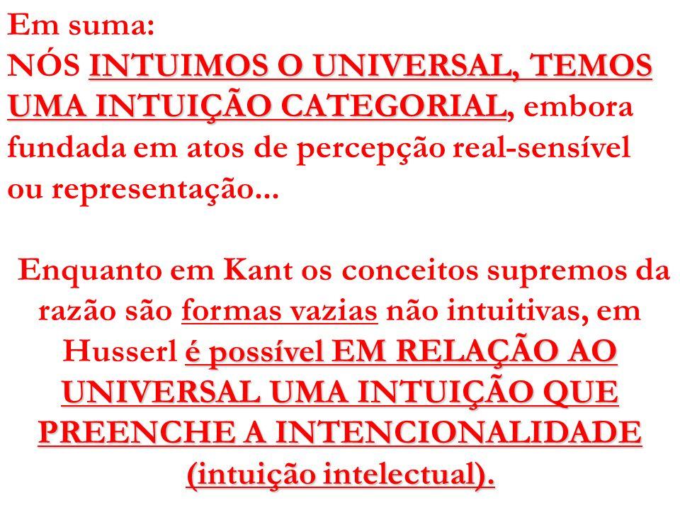 Em suma: INTUIMOS O UNIVERSAL, TEMOS UMA INTUIÇÃO CATEGORIAL NÓS INTUIMOS O UNIVERSAL, TEMOS UMA INTUIÇÃO CATEGORIAL, embora fundada em atos de percep