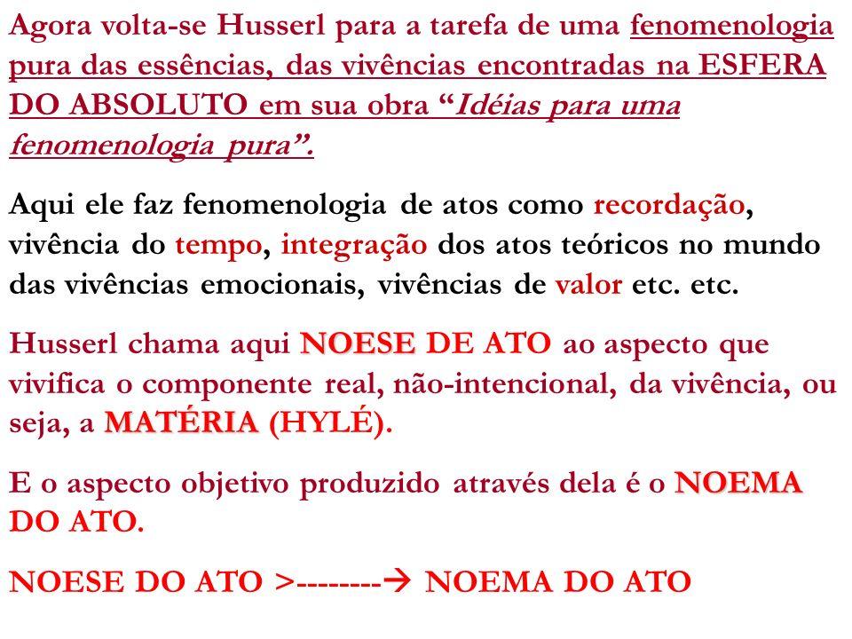 Agora volta-se Husserl para a tarefa de uma fenomenologia pura das essências, das vivências encontradas na ESFERA DO ABSOLUTO em sua obra Idéias para