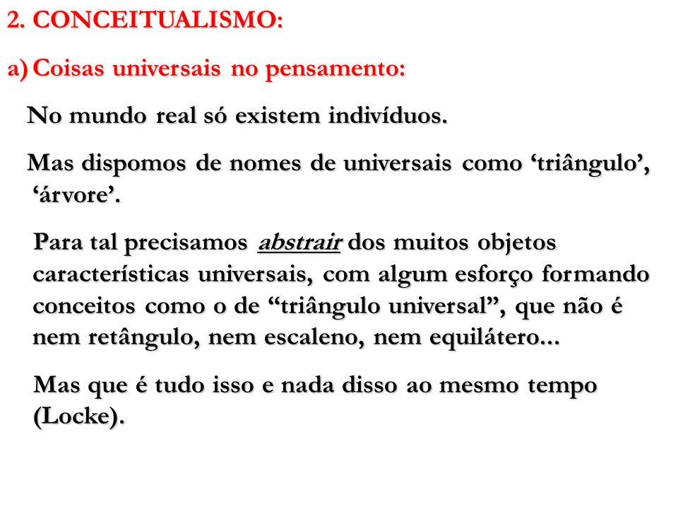 2. CONCEITUALISMO: a)Coisas universais no pensamento: No mundo real só existem indivíduos. No mundo real só existem indivíduos. Mas dispomos de nomes