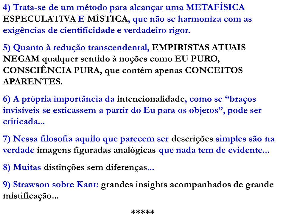 4) Trata-se de um método para alcançar uma METAFÍSICA ESPECULATIVA E MÍSTICA, que não se harmoniza com as exigências de cientificidade e verdadeiro ri