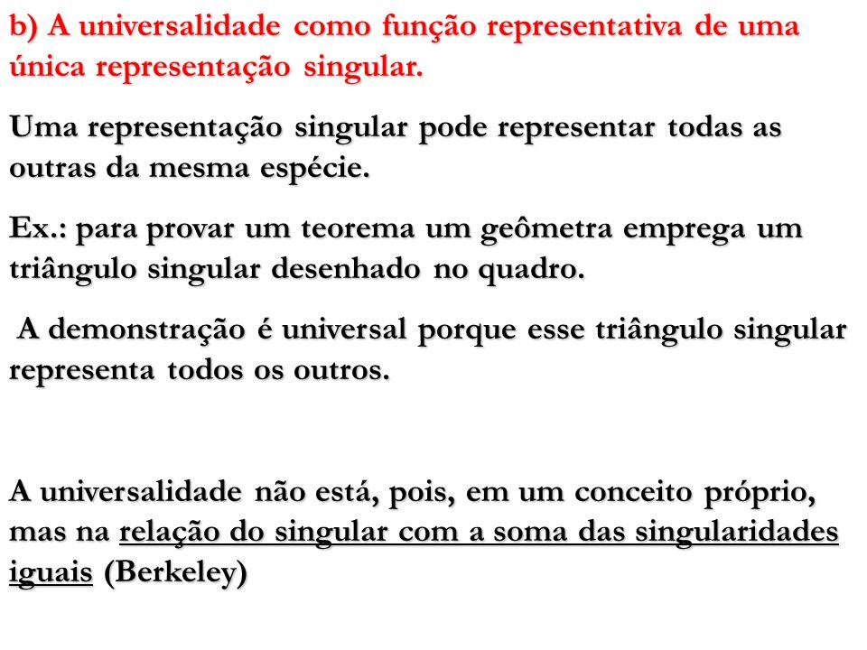 b) A universalidade como função representativa de uma única representação singular. Uma representação singular pode representar todas as outras da mes