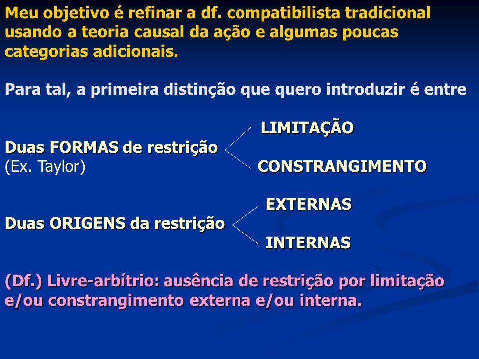 refinar Meu objetivo é refinar a df. compatibilista tradicional usando a teoria causal da ação e algumas poucas categorias adicionais. Para tal, a pri