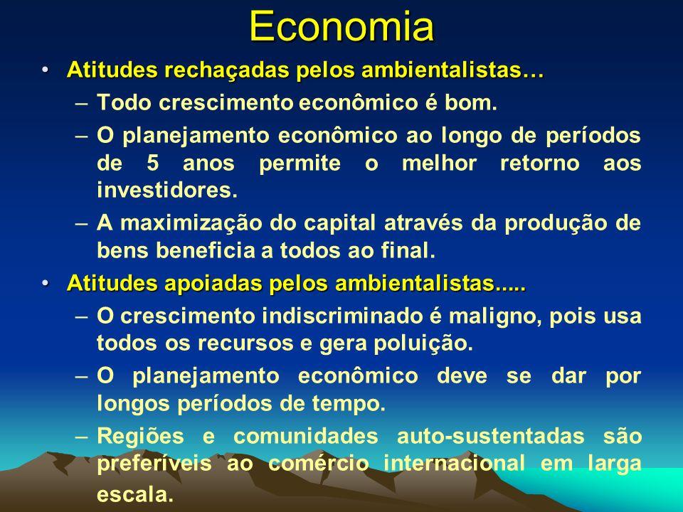 Economia Atitudes rechaçadas pelos ambientalistas…Atitudes rechaçadas pelos ambientalistas… –Todo crescimento econômico é bom. –O planejamento econômi