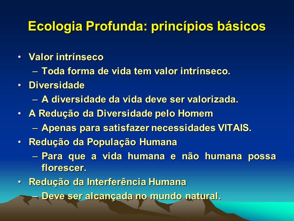 Ecologia Profunda: princípios básicos Valor intrínsecoValor intrínseco –Toda forma de vida tem valor intrínseco. DiversidadeDiversidade –A diversidade