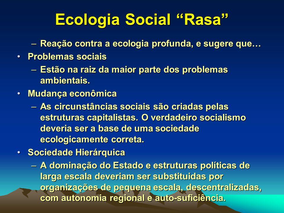 Ecologia Social Rasa –Reação contra a ecologia profunda, e sugere que… Problemas sociaisProblemas sociais –Estão na raiz da maior parte dos problemas