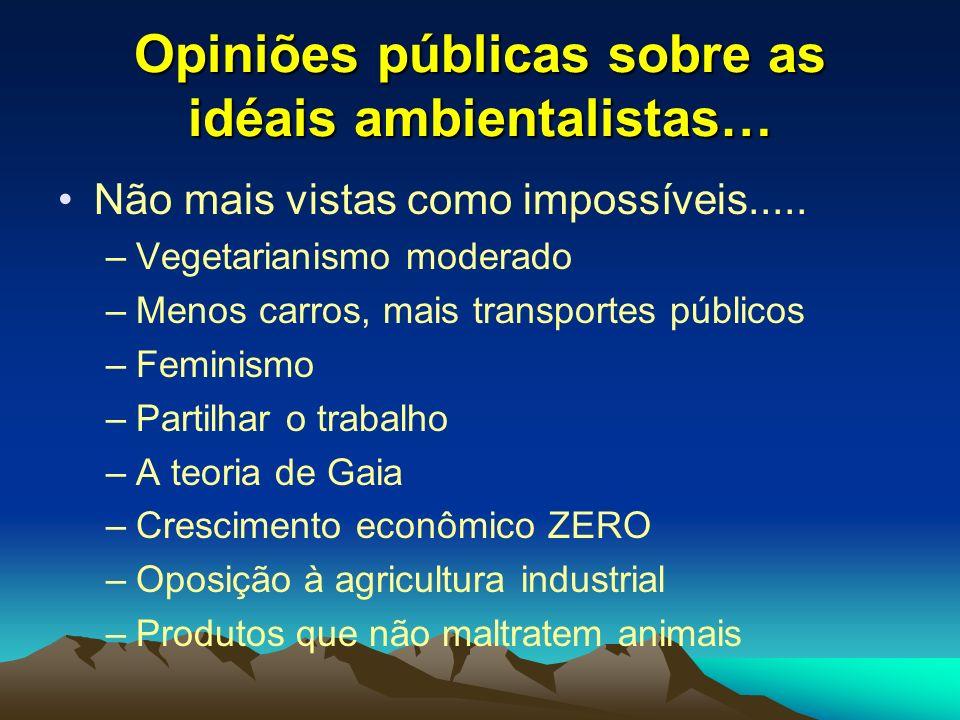 Opiniões públicas sobre as idéais ambientalistas… Não mais vistas como impossíveis..... –Vegetarianismo moderado –Menos carros, mais transportes públi