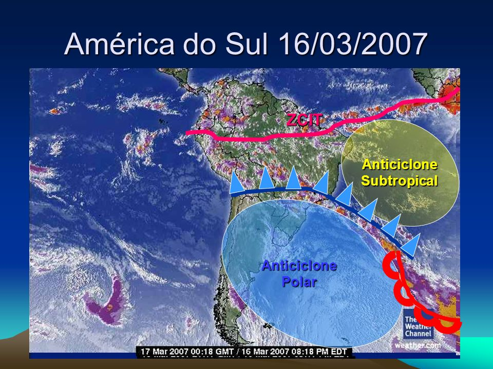 América do Sul 16/03/2007 ZCIT Anticiclone Polar Anticiclone Subtropical