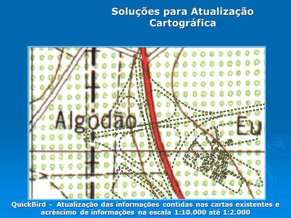 Soluções para Atualização Cartográfica QuickBird - Atualização das informações contidas nas cartas existentes e acréscimo de informações na escala 1:10.000 até 1:2.000