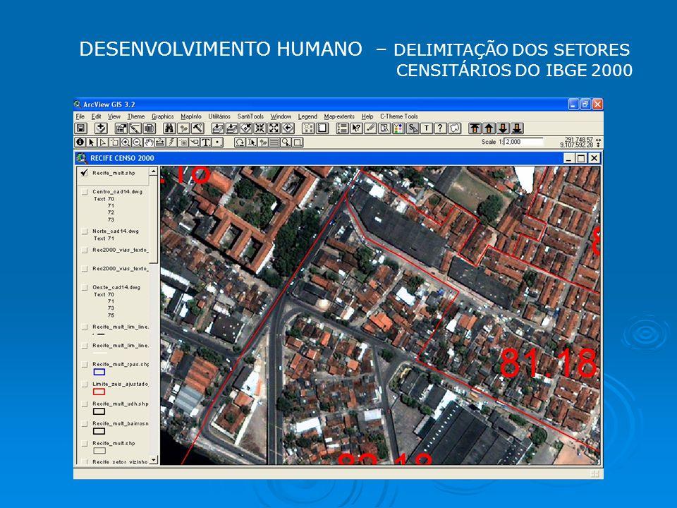 DESENVOLVIMENTO HUMANO – DELIMITAÇÃO DOS SETORES CENSITÁRIOS DO IBGE 2000