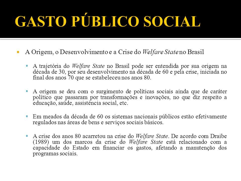 A Origem, o Desenvolvimento e a Crise do Welfare State no Brasil A trajetória do Welfare State no Brasil pode ser entendida por sua origem na década d