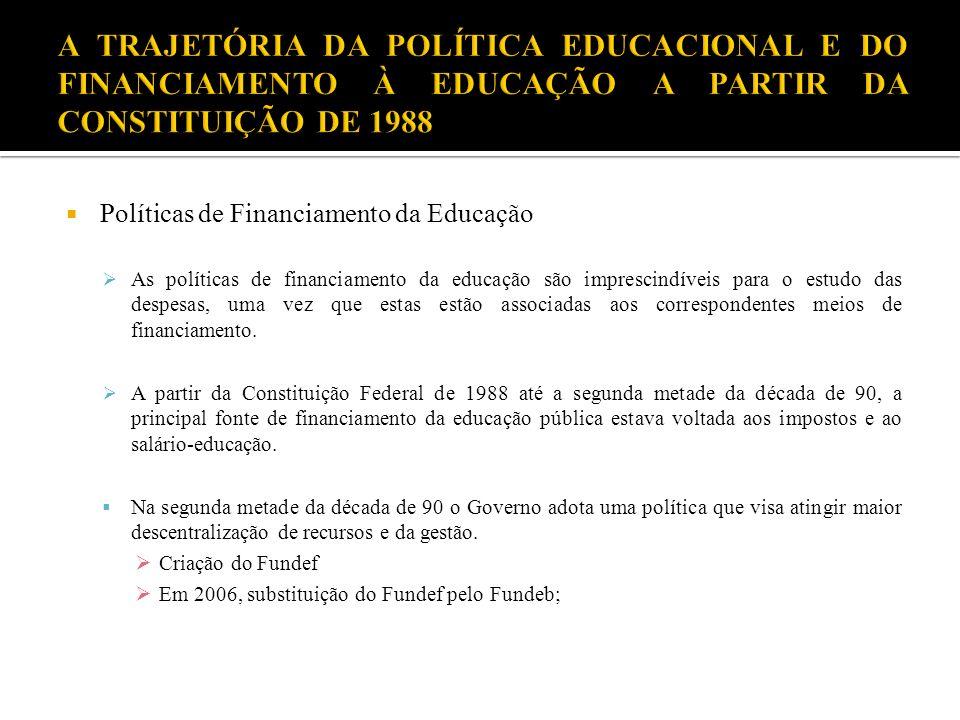 Políticas de Financiamento da Educação As políticas de financiamento da educação são imprescindíveis para o estudo das despesas, uma vez que estas est