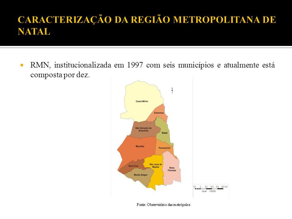 RMN, institucionalizada em 1997 com seis municípios e atualmente está composta por dez.