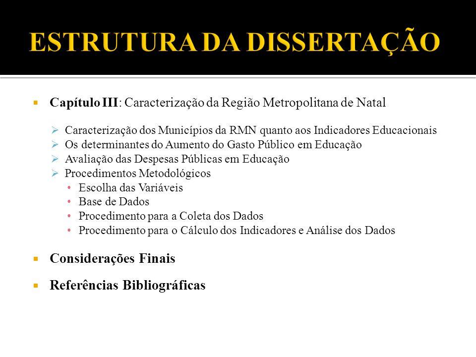 Capítulo III: Caracterização da Região Metropolitana de Natal Caracterização dos Municípios da RMN quanto aos Indicadores Educacionais Os determinante