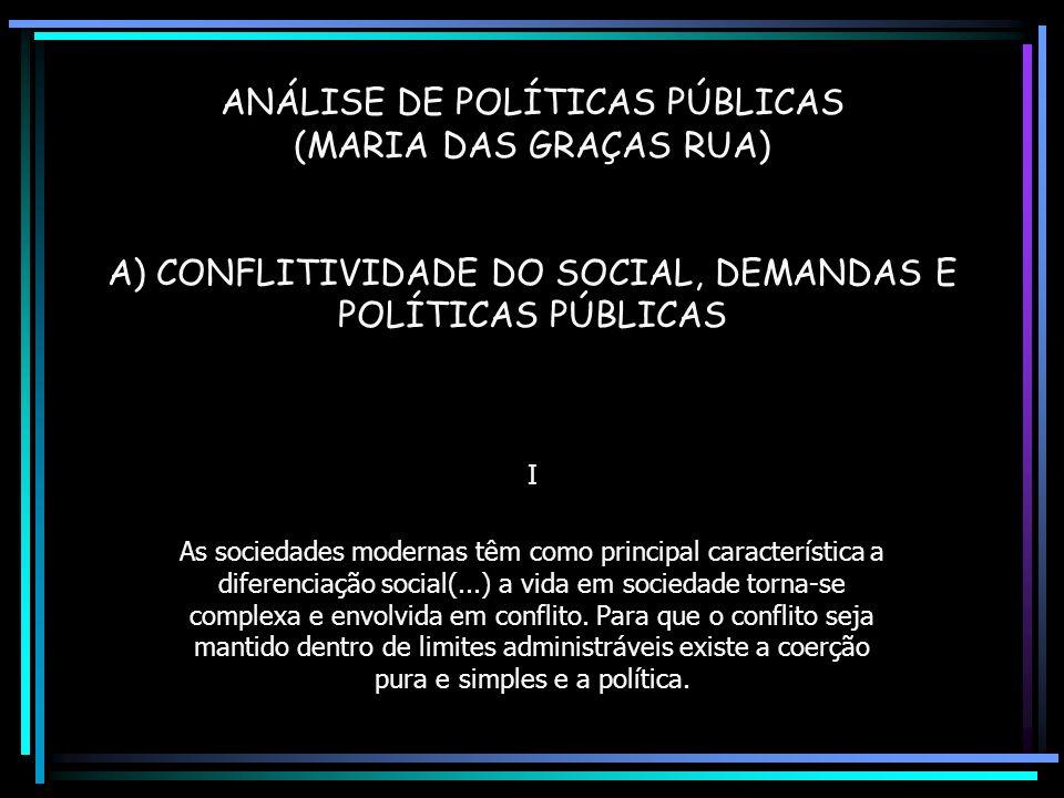 ANÁLISE DE POLÍTICAS PÚBLICAS (MARIA DAS GRAÇAS RUA) A) CONFLITIVIDADE DO SOCIAL, DEMANDAS E POLÍTICAS PÚBLICAS I As sociedades modernas têm como principal característica a diferenciação social(...) a vida em sociedade torna-se complexa e envolvida em conflito.
